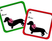 25 Christmas Gift Tags Dachshund Black Silhouette for Doxie Dog Lovers Choose Green or Red Edge on Your Holiday Dog Breed Tags