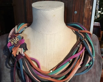Hand dyed cotton jersey necklace scarf