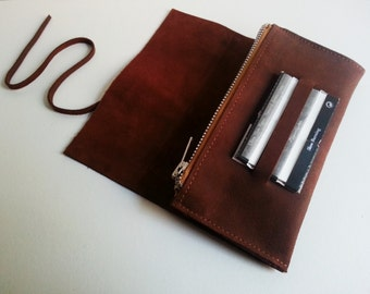 Tobacco Brown nubuck leather pouch