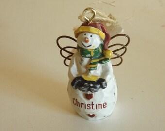 "Vintage Tree Ornament Snowman ""Christine""  2 Inch  CL4-11"