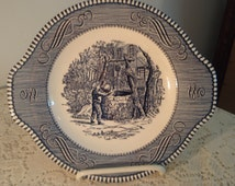 Vintage Blue and White dish with scene of boy at the well,Transferware, Collectible display dish,Wall Hanging dish, candy dish,serving dish