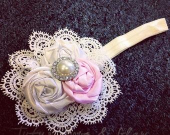 Ivory and Pink Vintage Headband