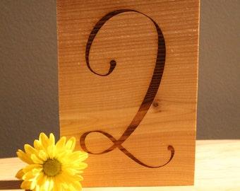 Rustic Table Numbers 5x7 Rustic Wedding Laser engraved