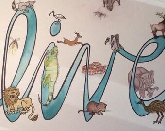 Custom Baby Name Animal Alphabet Art