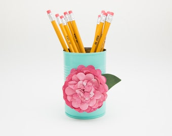 Magnetic Pen // Pencil Holder- Turquoise with Pink Flower