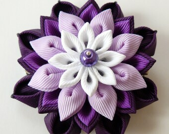 Kanzashi  fabric flower hair clip. Plum, purple, orchid and white.
