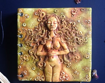 Polymer Clay Journal - Art Journal - Book of Shadows - Pagan Book - Wiccan Book of Shadows - Magical Tool - Hand Bound and Hand Sculpted