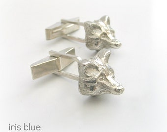 Fox Cufflinks,  Animal Lovers Gift, Sterling Silver Gifts for Men, Animal Jewellery