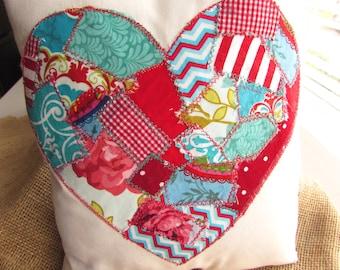 Valentine's Day Pillow Patchwork Pillow Appliqued Pillow Flower Pillow Handmade Heart Pillow Red & Teal Heart Pillow