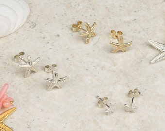 Starfish Studs - Earrings - Nautical - Beach - Silver - Gold - Handmade - Jewellery - Gift for Her
