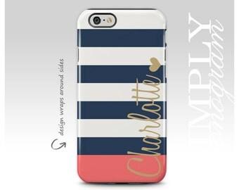 iPhone 8 Case, iPhone X, iPhone 7 Case, iPhone 7 Plus Case, Samsung Galaxy S8 Plus Case, Galaxy S7 Case, Galaxy S8 Case, Navy Blue Stripes