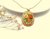 Lovely spring roses, Floral pic nic, hand embroidered necklace in green and orange, spring, roses.
