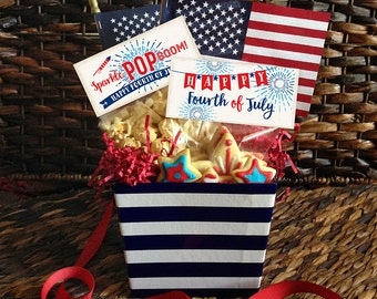 4th of July Bag Toppers, Popcorn and Treat Toppers, Patriotic, Red White & Blue, 4 Designs, C0704