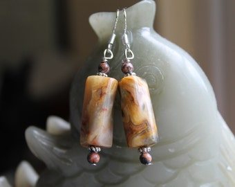 Beautiful Yellow Crazy Lace Agate Earrings, sterling silver hook