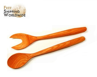 Wooden Salad serving mixing Set Wide Forks Double from Cherry wood