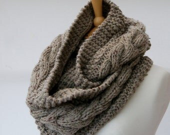 Chunky Knit sand cable infinity scarf, Knitted sand scarf, Chunky knit scarf, Knitted sand snood Ready to ship