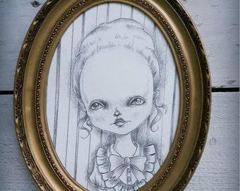Victorian sweetheart - original artwork in a vintage frame