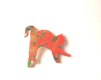Japanese Chiyogami Paper Red Flower Floral Cat pin,brooch,cat lover,japanese lover, Chiyogami Necklace, Japanese Paper Jewelry