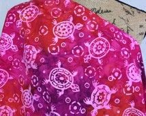 Made in Indonesian--Indonesian Batik Fabric--Pink Sea Turtles on Multi Colored Red and Purple--Indonesian Fabric by the HALF YARD