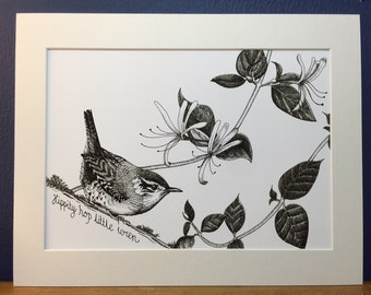 Wren - Japanese Ink Art Print from an original ink drawing. Black and white print.