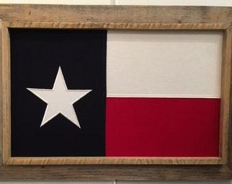 Rustic Barnwood Framed Texas flag