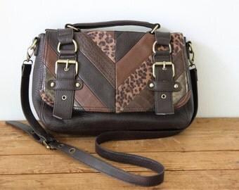 Vintage ALDO Brown Leather Messenger Bag / Brown Striped Satchel Crossbody Handbag 072914-2