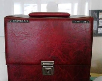 Vintage Red Single Vinyl Records Storage Box