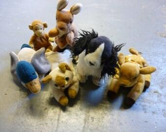 6x Retired Ty Beanie Babies Untagged Kangaroo, Duck, Deer, Dog, Monkey, cat