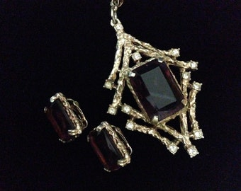 """Vintage Sarah Coventry """"Twilight"""" Necklace Earring (clip-on) Set (WhtD2)"""