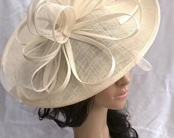 Ivory hatinator..Stunning Sinamay Hat on a Headband..Hatinator