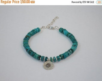ON SALE Natural Turquoise and Hill Tribe Om Charm Bracelet w/ Sterling Silver Nugget beads