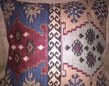 "Killim Aztec Upholstery fabric red blue beige cushion cover 19"" BY 18"""