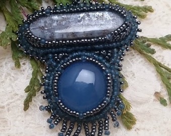 Kynite, Blue Chalcodony and Topaz Bead Embroidry Pendent
