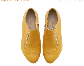 September sale Yellow handmade shoes / Grace Yolk flat leather shoes by Tamar Shalem