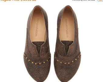 WINTER SALE Molly shoes, Dark Brown, Mud,  handmade, flats, leather shoes, by Tamar Shalem on etsy