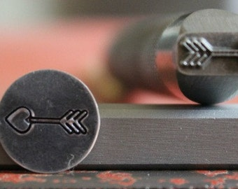 Arrow With Heart Point Metal Design Stamp- Available in 3 Different Tool Sizes-Made In USA-Advantage Stamp Series- SGAD-11