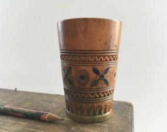 Soviet handmade wooden cup Wooden pencil holder Engraved wooden mug Soviet tourist Souvenir USSR era 60s