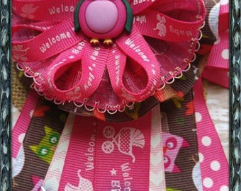 Hot Pink Owl Mommy To Be Corsage Owl Theme Baby Shower Corsage Pink & Brown Owl Theme