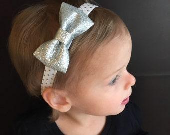 Silver Bow Headband..Newborn Headband..Baby Girl Headband..Baby Headband..Toddler Headband..Infant Headband..Bow Headband