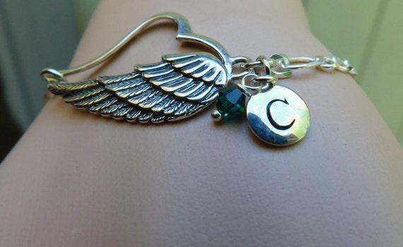 Sterling silver angel wing bracelet, heavenly jewelry, memorial jewelry, angel jewelry, wedding bracelet
