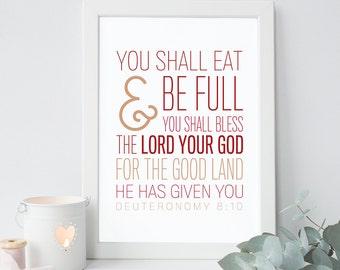 Bible Verse Art  - Deuteronomy 8:10 - Scripture Print - Bible Typography - Dining Room Scripture
