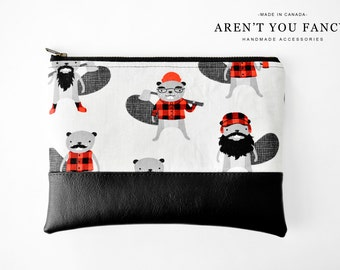 Cosmetic Bag, Clutch, Make-up Bag, Pouch, Burly Beavers, Robert Kaufman, Cotton and Faux Leather by Aren't You Fancy