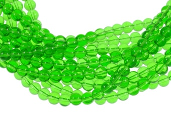 Clear Bright Kelly Green 8mm Round Glass Beads - Full 16 inch strand - Approximately 54 beads