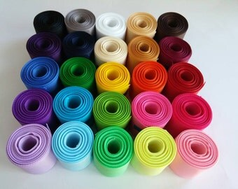 """1.5"""" (38mm) Solid Grosgrain Ribbon Lot: You choose 1 or 2 Yards Each of 25 Different Colors"""