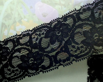 "3yds Black Elastic Lace Stretch Trim Headband 2"" Ribbon Floral Design Stretch Lace Headbands Lingerie Elastic Lace by the yard"