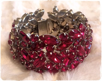 RARE Highly Collectible SHERMAN Ruby Red Cuff Bracelet
