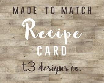 Coordinating Recipe Card ADD ON