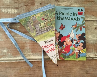 Bunting book pages vintage mickey mouse Childrens party banner vintage flags decoration woodland
