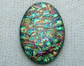 Lg 31x43mm Dichroic Glass Cabochons - Gold Pebble/Copper Orange Special Color - TR613