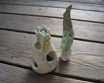 Ceramic Handmade Aquarium Set - Faerie Garden House - Ceramics and Pottery - Small Sculptures - Betta Fish Tank